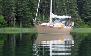 Allegro at anchor in Old Man's Pocket